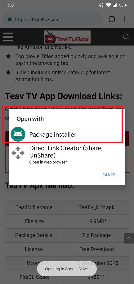 TeaTV apk package installer