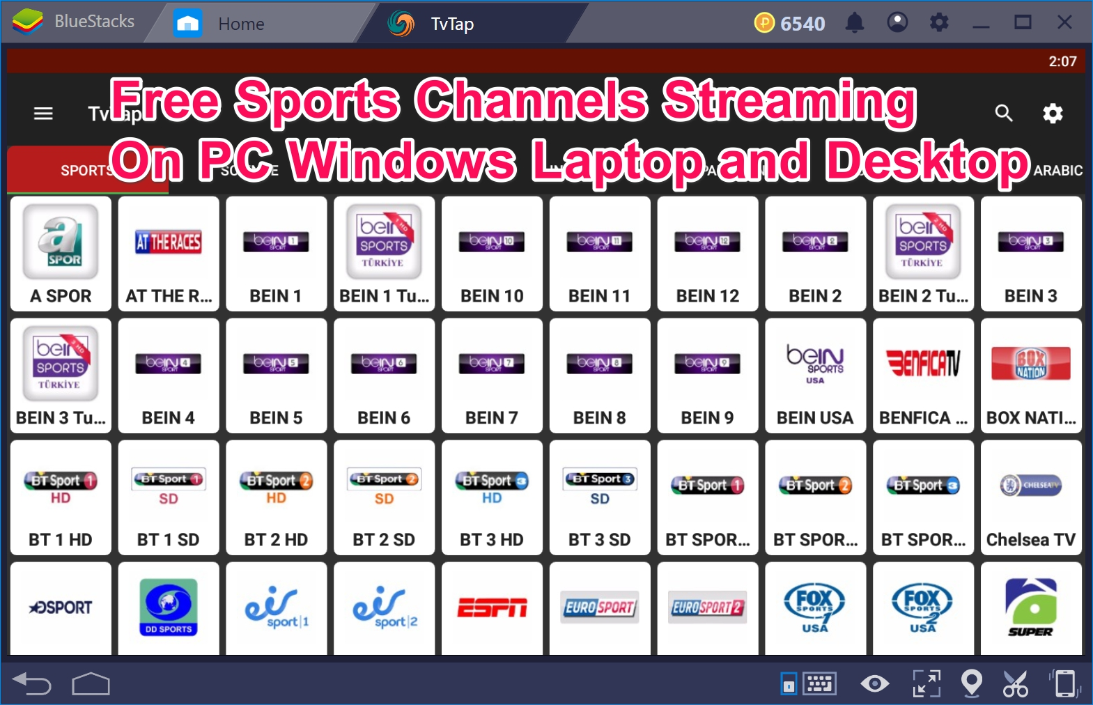 TvTap PC Sports streaming site